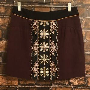 Anthropologie Floreat Embroidered Skirt